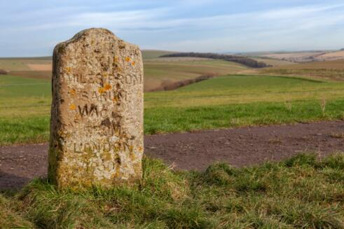 Mere Down Milestone Dated 1750, Wiltshire